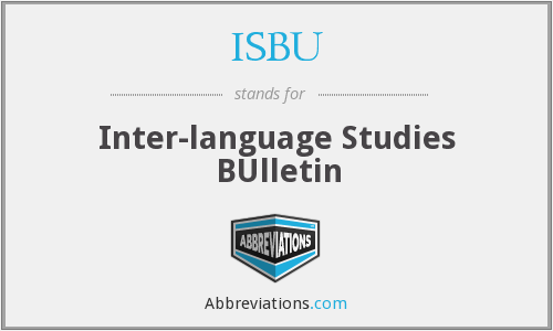 ISBU - Inter-language Studies BUlletin