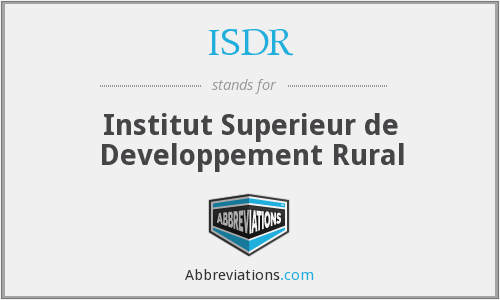 ISDR - Institut Superieur de Developpement Rural