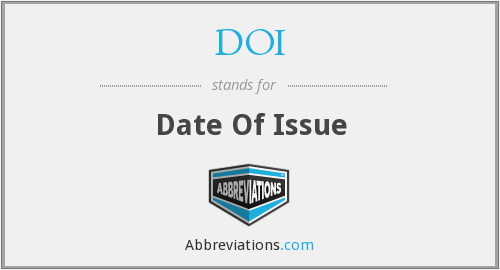 DOI - Date Of Issue