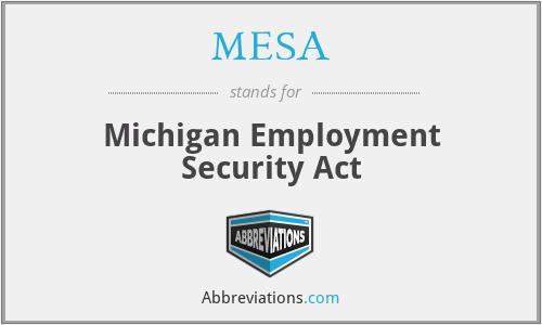 MESA - Michigan Employment Security Act