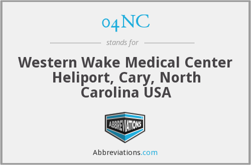 04NC - Western Wake Medical Center Heliport, Cary, North Carolina USA