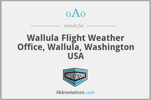 0A0 - Wallula Flight Weather Office, Wallula, Washington USA