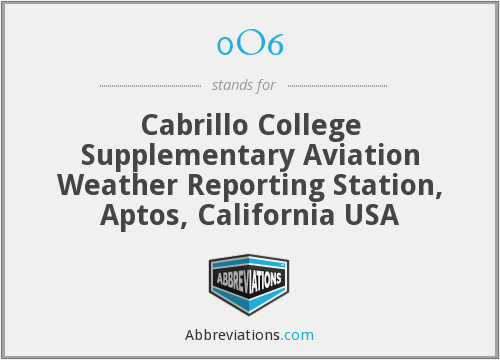 0O6 - Cabrillo College Supplementary Aviation Weather Reporting Station, Aptos, California USA