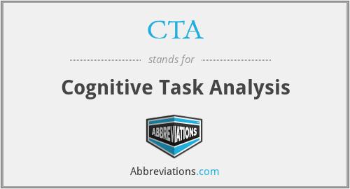 CTA - Cognitive Task Analysis