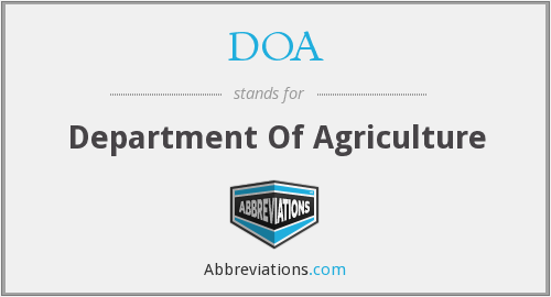 DOA - Department Of Agriculture