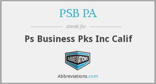 PSB PA - Ps Business Pks Inc Calif