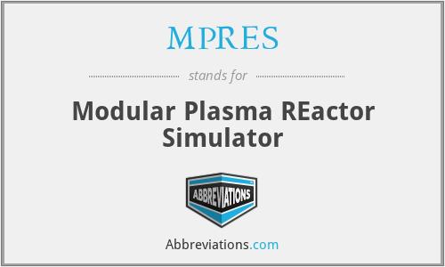 MPRES - Modular Plasma REactor Simulator