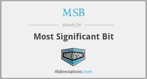 MSB - Most Significant Bit