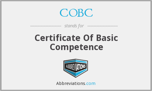 COBC - Certificate Of Basic Competence