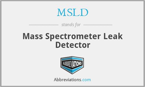 MSLD - Mass Spectrometer Leak Detector