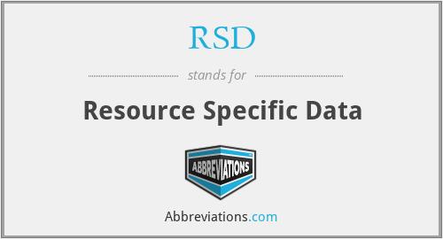 RSD - Resource Specific Data