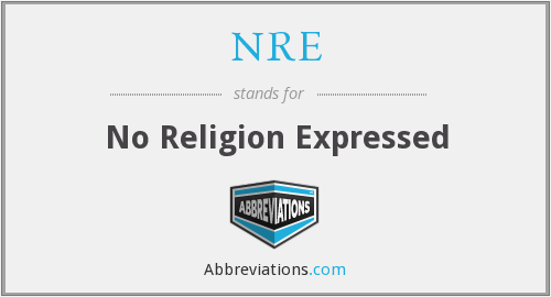 NRE - No Religion Expressed