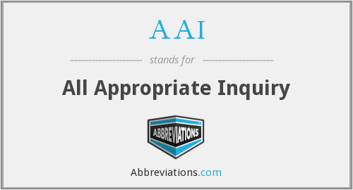 AAI - All Appropriate Inquiry