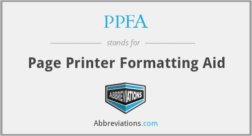 PPFA - Page Printer Formatting Aid