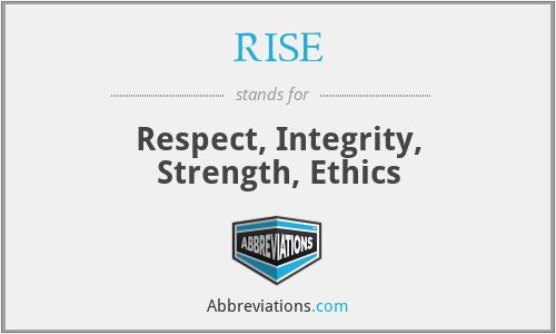 RISE - Respect, Integrity, Strength, Ethics