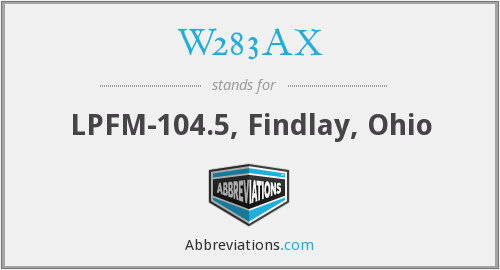 W283AX - LPFM-104.5, Findlay, Ohio