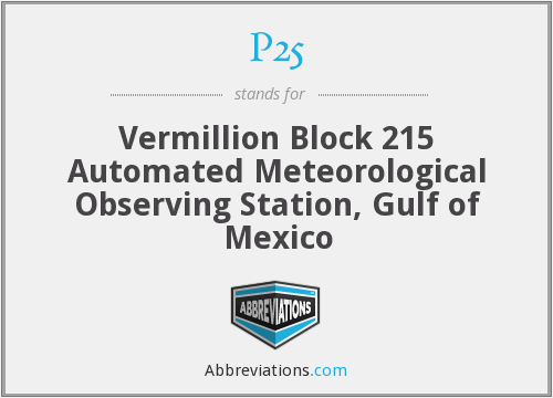 P25 - Vermillion Block 215 Automated Meteorological Observing Station, Gulf of Mexico