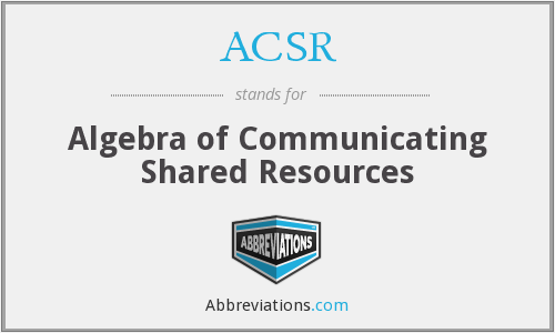 ACSR - Algebra of Communicating Shared Resources
