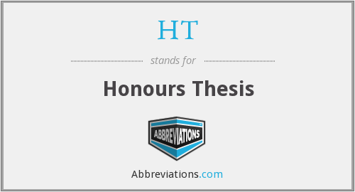 HT - Honours Thesis