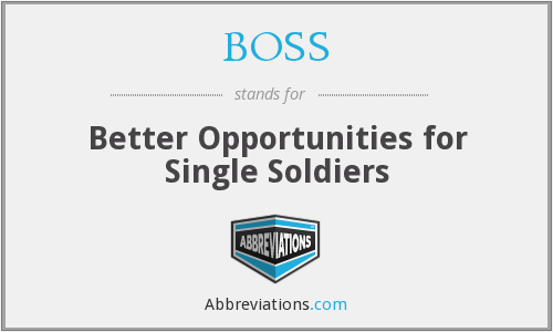 BOSS - Better Opportunities for Single Soldiers