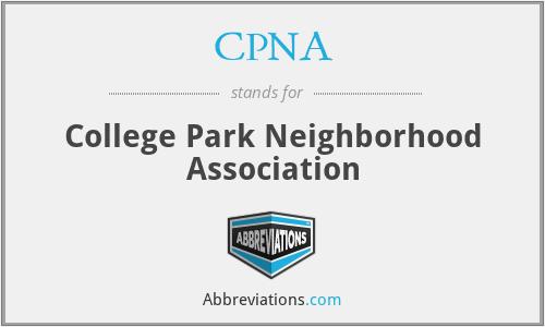 CPNA - College Park Neighborhood Association