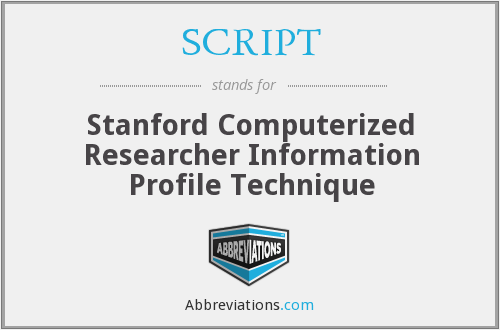 SCRIPT - Stanford Computerized Researcher Information Profile Technique