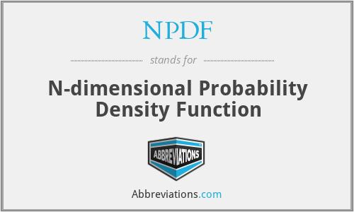 NPDF - N-dimensional Probability Density Function