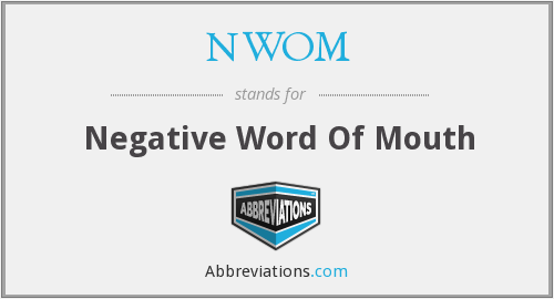 NWOM - Negative Word Of Mouth