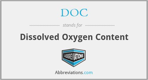 DOC - Dissolved Oxygen Content