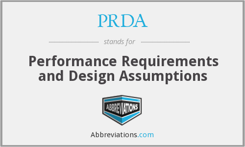 PRDA - Performance Requirements and Design Assumptions