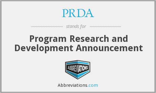 PRDA - Program Research and Development Announcement