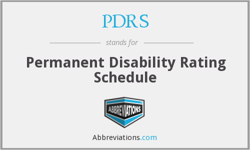 PDRS - Permanent Disability Rating Schedule