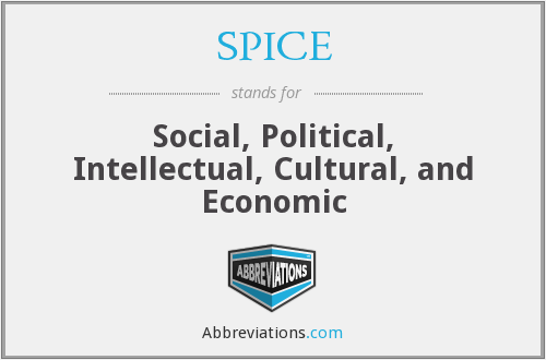 SPICE - Social, Political, Intellectual, Cultural, and Economic
