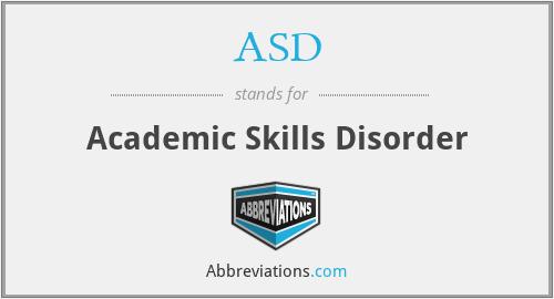 ASD - Academic Skills Disorder
