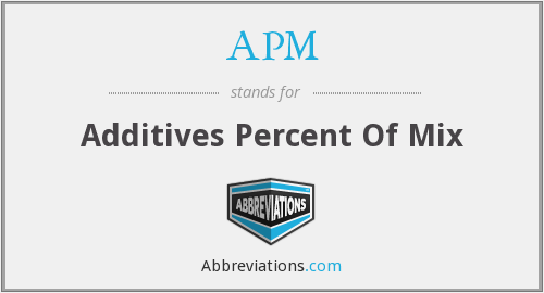 APM - Additives Percent Of Mix