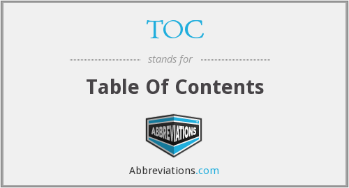 TOC - Table Of Contents