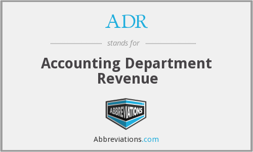 ADR - Accounting Department Revenue