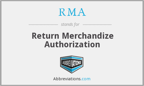 RMA - Return Merchandize Authorization