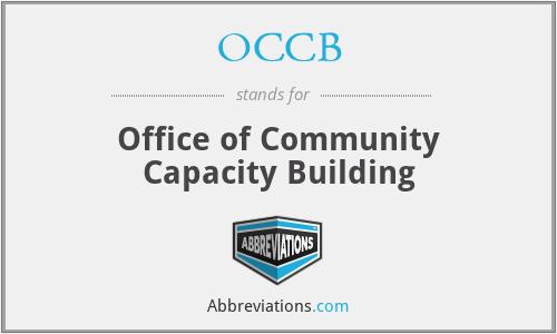 OCCB - Office of Community Capacity Building