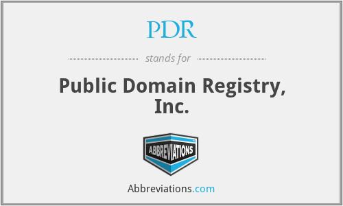PDR - Public Domain Registry, Inc.