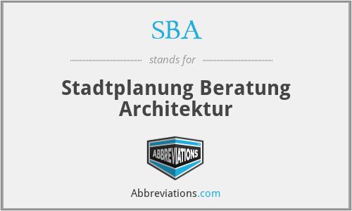 SBA - Stadtplanung Beratung Architektur