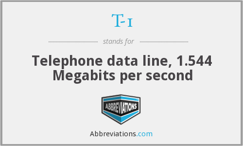 T-1 - Telephone data line, 1.544 Megabits per second