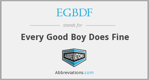 What does EGBDF stand for?