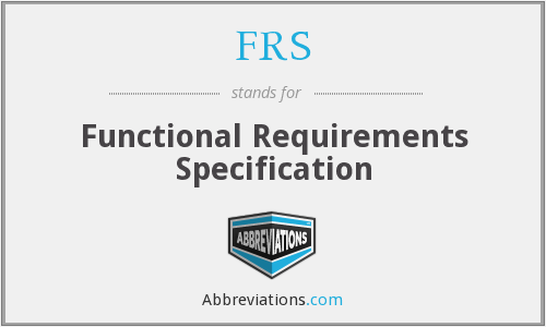 FRS - Functional Requirements Specification