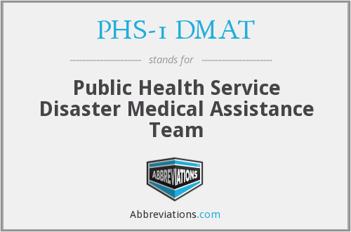 PHS-1 DMAT - Public Health Service Disaster Medical Assistance Team
