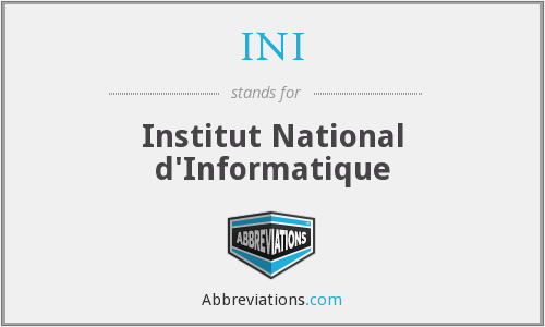 INI - Institut National d'Informatique