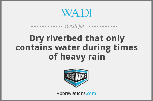 WADI - Dry riverbed that only contains water during times of heavy rain