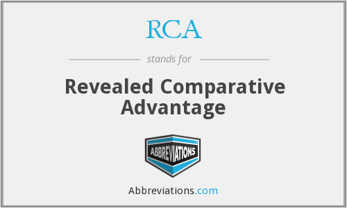 RCA - Revealed Comparative Advantage