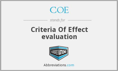 COE - Criteria Of Effect evaluation