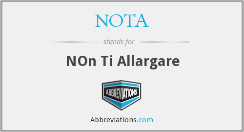 NOTA - NOn Ti Allargare